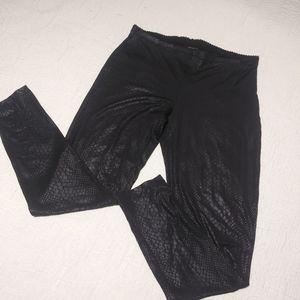 HUE Python Print Sleek Ponte Leggings Black Small